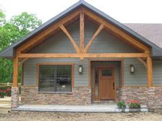Front Porch On Ranch House | Front Porch & Cedar Truss