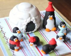 Christmas fondant penguin - Over 40 Pieces Cake Topper Set of  Whimsical 3D Fondant Sliding Playful Penguin and Igloo Fondant Toppers by Les Pop Sweets on Gourmly