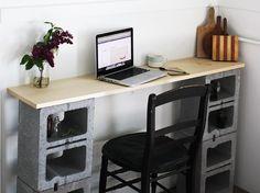DIY Schreibtisch mit Formsteinen aus Schlackenbeton