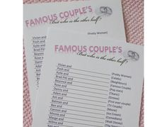 Hen Night Party Game, Famous Couples