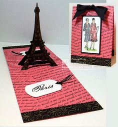 Frances Byrne using the Pop it Ups Eiffel Tower Pop Stand die by Karen Burniston for Elizabeth Craft Designs. - Haute Couture