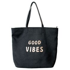 Venus Good Vibes Beach Tote ($29) ❤ liked on Polyvore featuring bags, handbags, tote bags, accessories, black, purses, man bag, zippered beach bag, handbag purse and beach bag