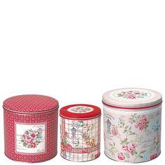 GreenGate Tin Box Round Winter Garden Set Of 3 Pieces