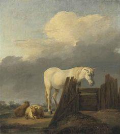 Adriaen van de Velde - Grijs paard en schapen bij een hek