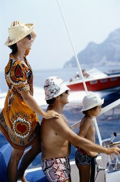 Motor Holiday. Slim Aarons. A family jaunt in a motorboat in Porto Ercole, Tuscany, circa 1975.