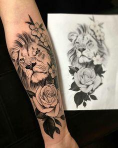 - Tattoos - Beautiful lion and rose tattoo 🌹 🦁 Tag someone who would love this 😍💉❤️. Leo Tattoos, Dream Tattoos, Future Tattoos, Body Art Tattoos, Tribal Tattoos, Girl Tattoos, Sleeve Tattoos, Tattoos For Women, Tatoos