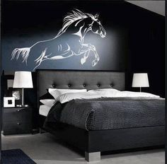 Horse bedroom wall - It may not be Heaven but I can see it from here Horse Themed Bedrooms, Bedroom Themes, Bedroom Wall, Bedroom Decor, Bedroom Ideas, Horse Bedrooms, Master Bedroom, Dream Bedroom, Modern Bedroom