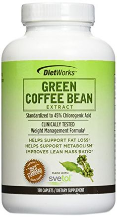 DietWorks Green Coffee Bean Extract 180 Caplets Made with Svetol 2 PAck *** Learn more by visiting the image link.