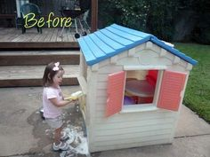 Use Krylon fusion paint for plastic to change the color of Little Tikes plastic play house.
