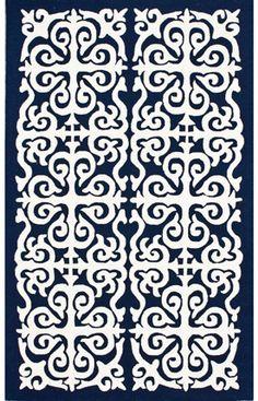 Homespun Damask Trellis Navy Blue Rug | Contemporary Rugs
