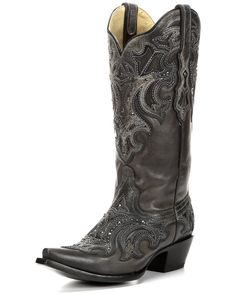 """<p class=""""MsoNoSpacing"""">Be a stylishly dressed cowgirl by completing your outfit wearing these gorgeously designed women's boots. Handcrafted in cowhide leather, these black boots stand out with shiny metal studs perfectly positioned on fancy patterned overlays.</p> <p class=""""MsoNoSpacing"""">Soft leather lining and cushioned insoles provides much comfort for long wear. Snip toes and leather outsoles add some true Western flavor. Dip openings and pull tabs help in making dressing easier…"""