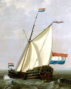 An Dutch yacht owned by the Rotterdam chapter of the Dutch East India Company. This yacht has the gaff rig and leeboards of the period. Sea Patrol, Anglo Dutch Wars, Ship Drawing, Man Of War, Nautical Art, Navy Ships, Seascape Paintings, Ship Art, Model Ships