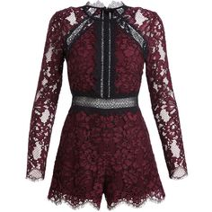Alexis Eva Long-Sleeve Lace Romper, Plum (6 855 ZAR) ❤ liked on Polyvore featuring jumpsuits, rompers, long-sleeve romper, purple lace romper, playsuit romper, lace romper and lace rompers