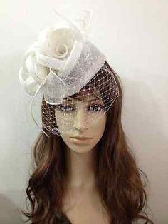 2013 SINAMAY Fascinator White Hat Handband  Bridal Church Derby Cocktail
