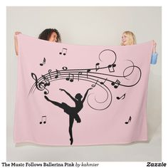The Music Follows Ballerina Pink Fleece Blanket