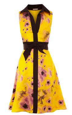 Karen Millen Yellow Floral Print Dress - suit-dresses.com - $83.85