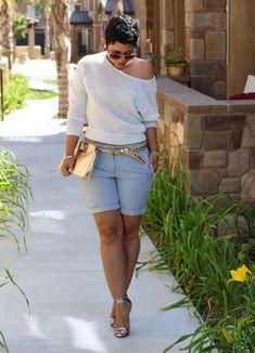 Casual Friday Shorts + Heels - Mimi G Style