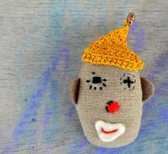 brooch pin embroidered circus character  cloth  by psarokokalo