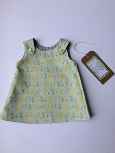Your place to buy and sell all things handmade Reversible Dress, Girls Dresses, Summer Dresses, Little White, New Baby Products, Cotton Fabric, Stitch, Cute, Pattern