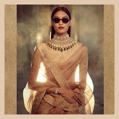 "The Rajasthani ""aar"" interpreted with large uncut Diamonds and Emeralds.  #Sabyasachi #StatementNecklace #Bridalwear #DiamondJewellery #JadauJewellery #GoldJewellery #BridalJewellery #IndianDesigner #IndianCouture2017 #TheWorldOfSabyasachi  Location Courtesy: Rambagh Palace @rambaghpalace"