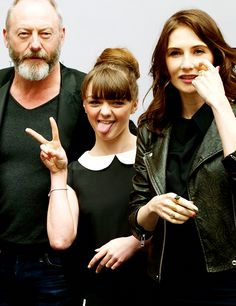 Maisie Williams, Liam Cunningham, and Carice Van Houten at theGame of Thrones Exhibition in Amsterdam