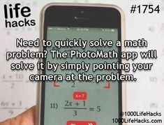 Need to quickly solve a math problem?  The PhotoMath app will solve it by simply pointing your camera at the problem!