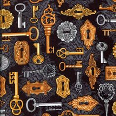 Time Machine Lock and Key Black - Robert Kaufman - 1 yard - More Available by BywaterFabric on Etsy