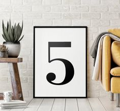 Number 5 Printable Art Poster, Number 5 Sign, Number 5 Wall Art, Kids Room Decor, Black & White Printable Wall Art *Instant Download* Printing Websites, Online Printing, Initial Wall Art, Monochrome Nursery, Nursery Letters, Christian Wall Art, Letter B, Wall Art Quotes, Quote Prints