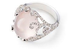Rose quartz cocktail ring designed by Sarah Ho for William & Son