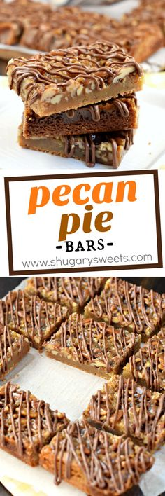 Chewy, nutty Pecan Pie Blondies are the perfect Fall treat! Or bake them all year long! #thinkfisher