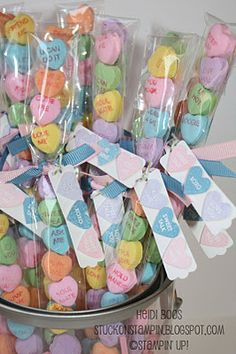 Conversation Hearts Skinny Bags   {with matching tag}
