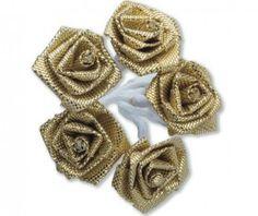 Ribbon Gold Roses Satin