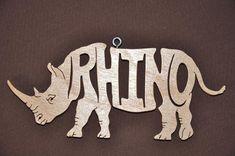 Rhino Rhinoceros Animal  Ornament Wooden Figure by Puzzimals