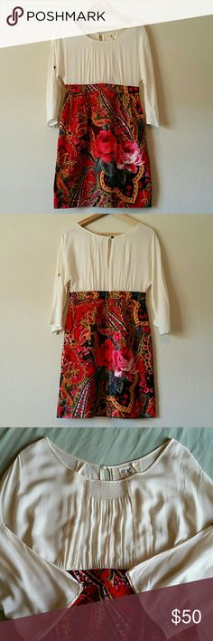 """Edme & Esyllte Easy As Pie Dress size 2 Flowy peasant upper, corduroy like skirt, buttons on sleeves to roll them up. Pockets, interior skirt slip. Keyhole and button back with half zip. Seam has come undone in armpit, shown.   Measures approximately 17"""" from pit to pit, 34.5"""" long, 20"""" sleeves. From Anthropologie. Anthropologie Dresses"""