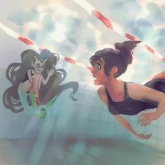 I wonder if Asahina and Feferi would get along Art by weenie-kun.tumblr