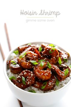 Easy Hoisin Shrimp | This Easy Hoisin Shrimp recipe is ready to go in less than 15 minutes, and is made with the a delicious 3-ingredient sauce.