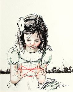 Cat's Cradle. an ink and watercolor study. signed by LieseChavez