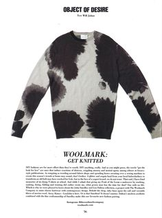 10 Magazine: The Lou Dalton x John Smedley sweater in colaboration with The Woolmark Company