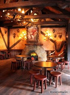Gaston's Tavern is a great place to find a quick breakfast at the Magic Kingdom and it's also a fun place to stop during the day for a snack and to shop in Belle's village.