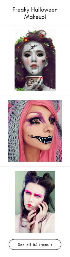 """Freaky Halloween Makeup!"" by surfernurd ❤ liked on Polyvore featuring beauty products, makeup, halloween, party makeup, night out makeup, going out makeup, holiday party makeup, eye makeup, eyeliner and skull makeup"