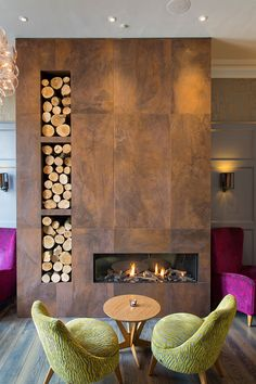 Beautiful tile clad fire place at Inn on the Square in Keswick. Tiles from the Replicate range.