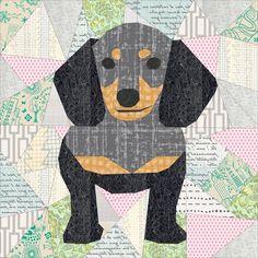 Doxie Dachshund quilt block : A Pattern Release | The Tartankiwi