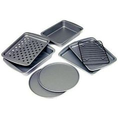 Toaster Oven Bakeware Set 8Pc Non Stick Baking Roast Sheet Pan Pizza Cookie Cake