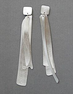 """Kathleen Faulkner: Wind Letter, Earrings in sterling silver. 4"""" in length."""