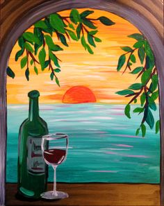 View Paint and Sip Artwork - Pinot's Palette Cute Canvas Paintings, Small Canvas Art, Easy Canvas Painting, Mini Canvas Art, Acrylic Painting Flowers, Simple Acrylic Paintings, Wine Painting, Wine Art, Painting Inspiration