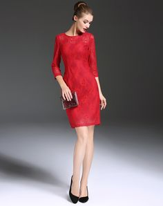 Check the details and price of this Red 3/4 Sleeve Lace Hollow Out Sheath Dress (Red, GYALWANA) and buy it online. www.vipme.com/ offers high-quality Sheath Dresses at affordable price.
