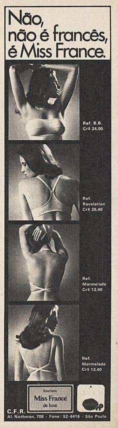Anúncio soutiens Miss France 1973