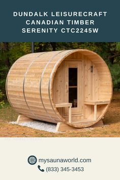 The Serenity is a mid-sized barrel sauna that comes with a front porch. It's not too small to share with family and friends and not too big if you have limited outdoor space. And it's made of eastern white cedar, so it's extremely long-lasting. Learn more about this crowd favorite! Outdoor Sauna, Outdoor Decor, Wood Burning Heaters, Barrel Sauna, Traditional Saunas, White Cedar, Bench Designs, Front Porch, Serenity