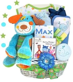 http://www.gotobaby.com/ – The colorful and playful Doggie basket offered by Go To Baby is the perfect baby gift for a new baby boy!