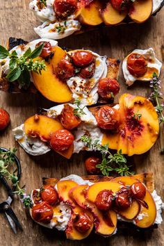 Peach Burrata Crostini with Burst Cherry Tomato Vinaigrette...feels kind of fancy, but is so simple to make, and so amazingly GOOD! Bruschetta, Peach Chicken, Grilled Bread, Half Baked Harvest, Cherry Tomatoes, Vinaigrette, Summer Recipes, Food To Make, Appetizers
